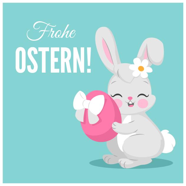 süßer Osterhase und sein Ei