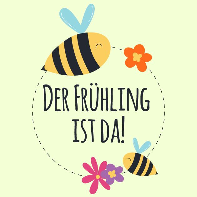 Der Frühlingsanfang ist da Biene und Blume