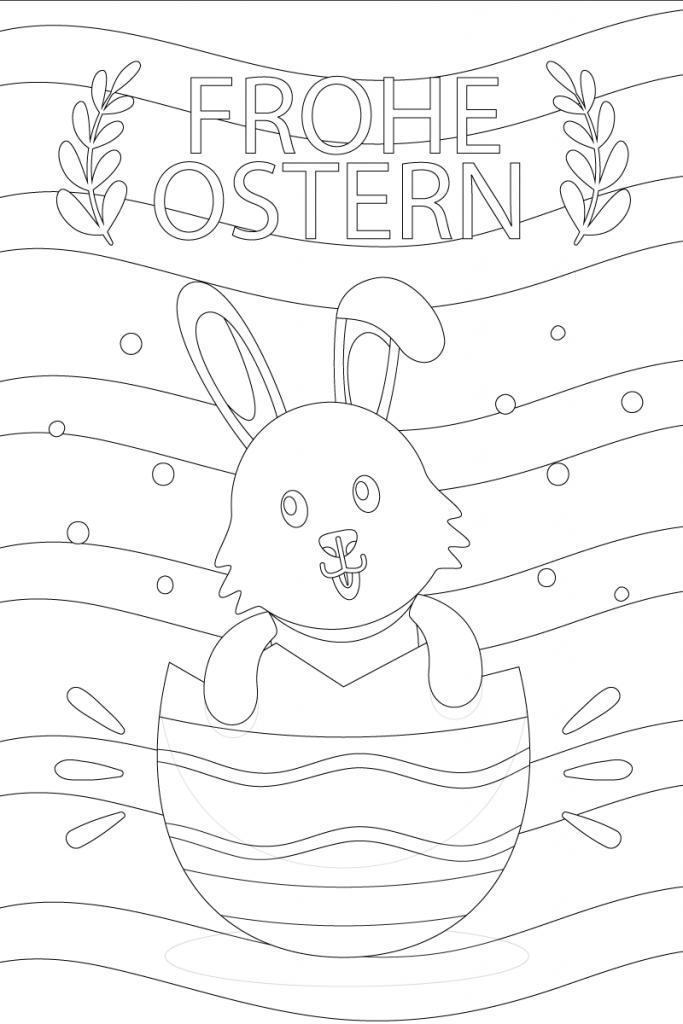 Frohe Ostern Ausmalbilder Kaninchen und Eier