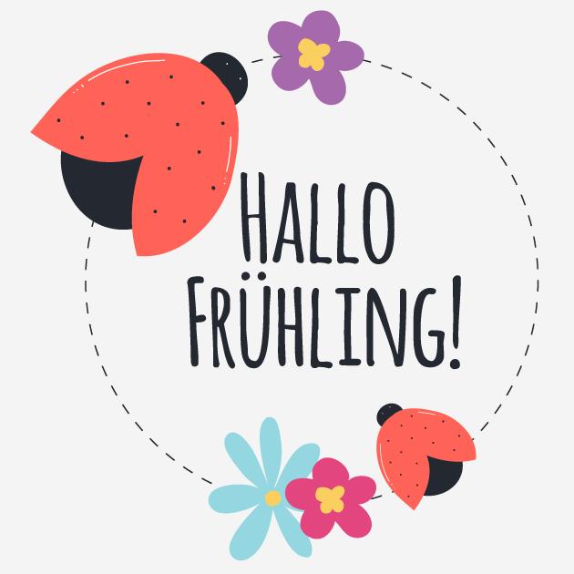 Hallo Frühling Marienkäfer und Blume