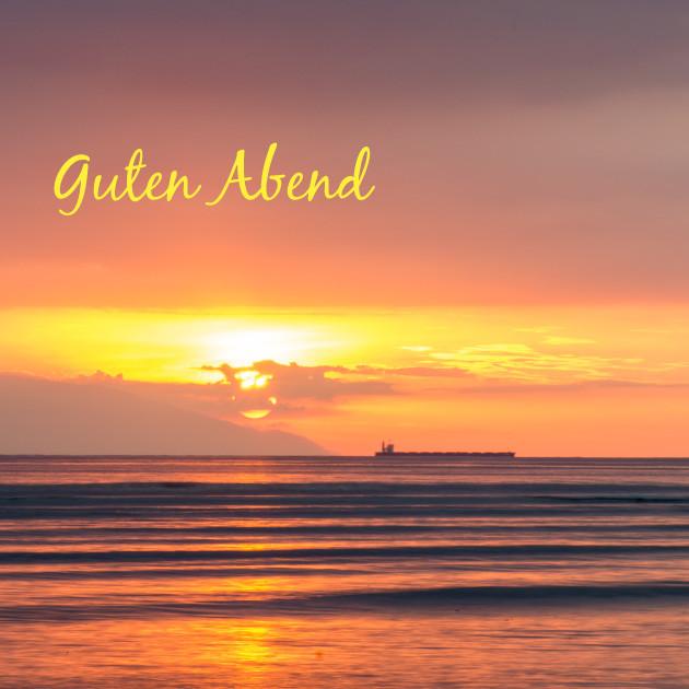 Meer und Sonnenuntergang Guten Abend