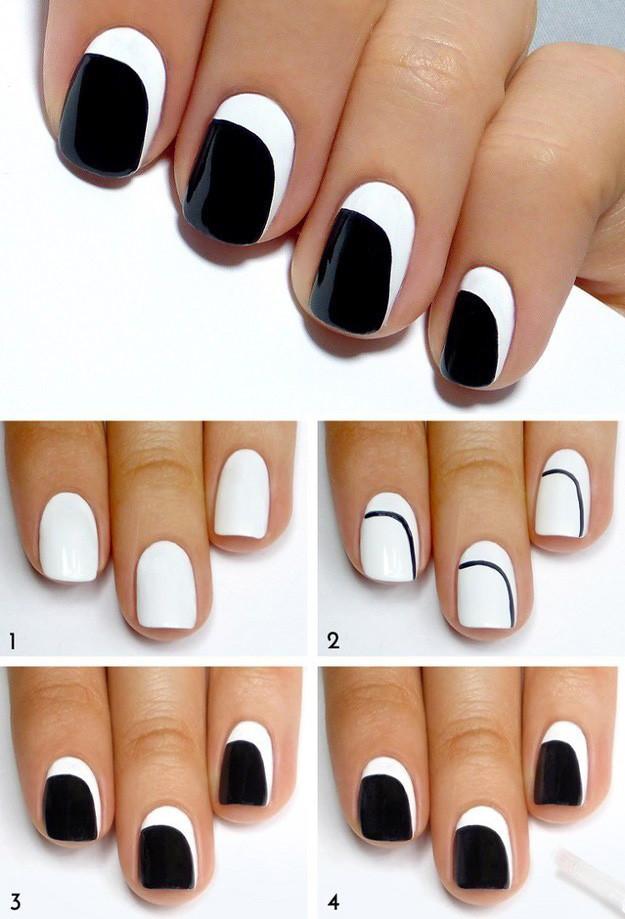 Schwarz Weißes Nagellack Muster