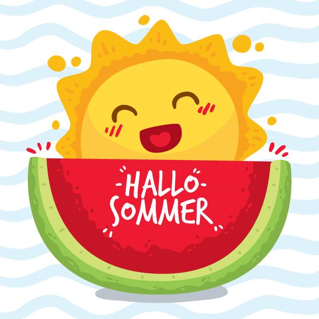 Hallo Summer Sonne und Wassermelone