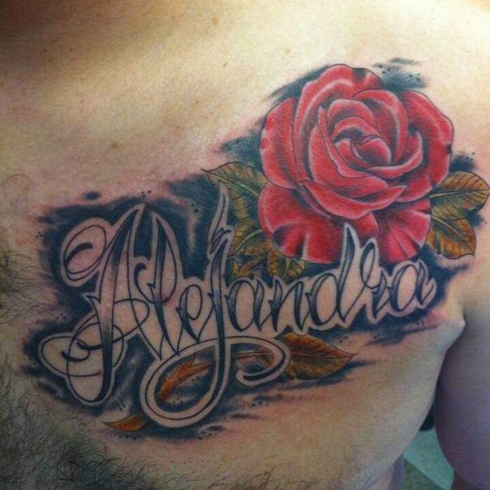 Brust Tattoo Rose 2