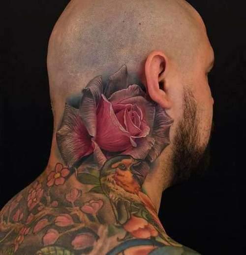 Tattoo Nacken Rose Männer 2