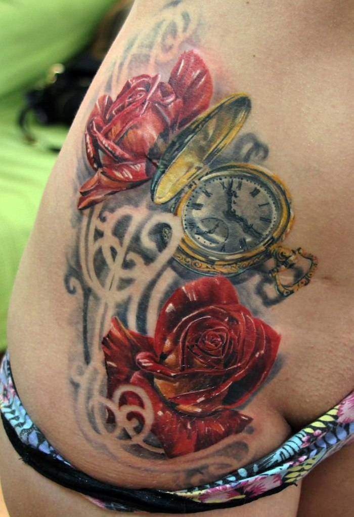Tattoo Rose Frauen Uhr