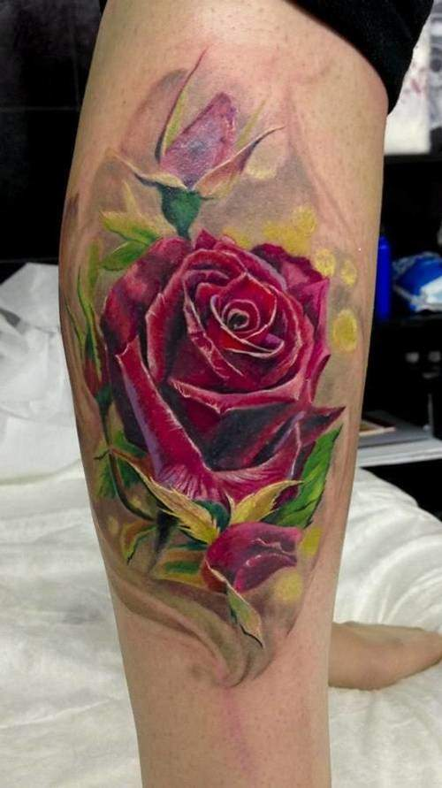 Tattoo Rose Fuß
