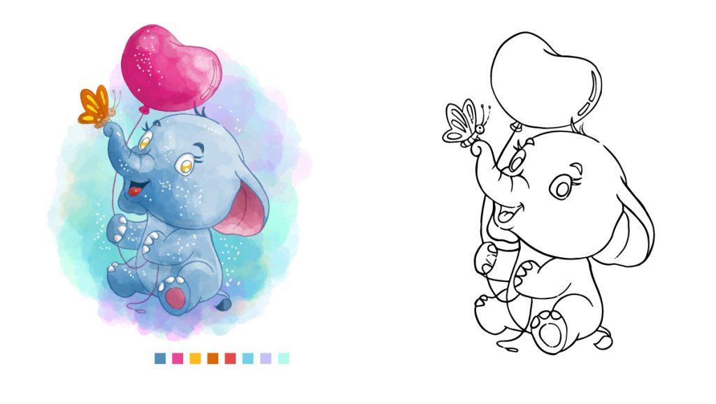 Ausmalbilder Tiere Bilder Elefant