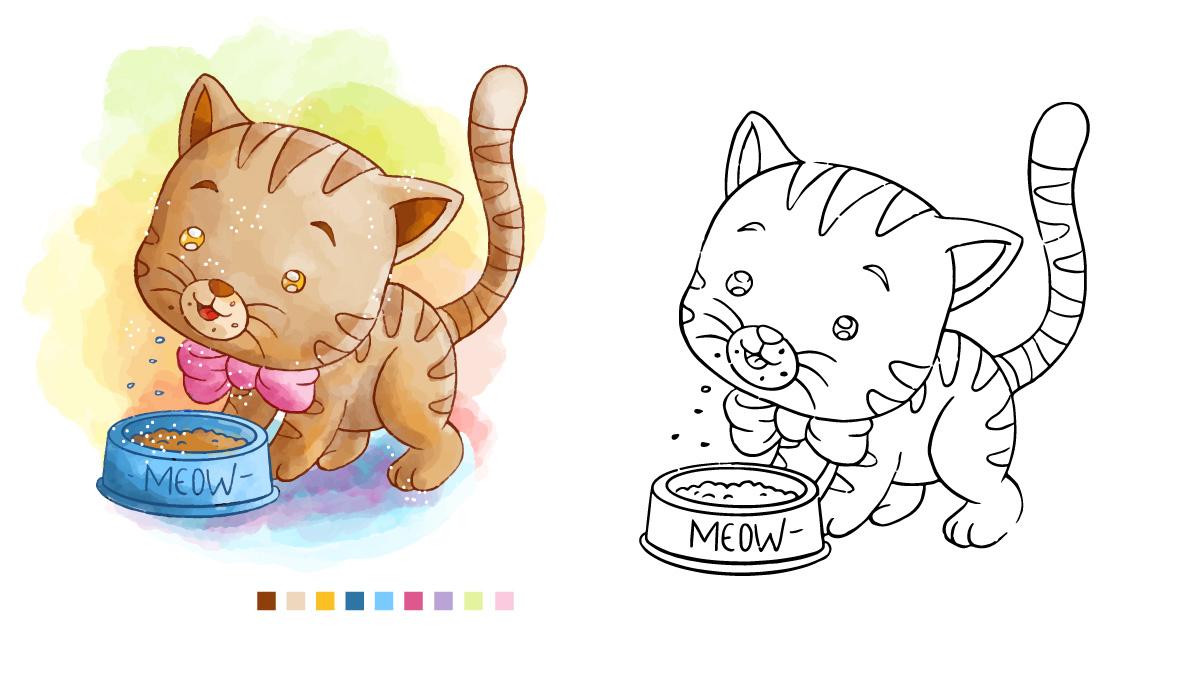 Ausmalbilder Tiere Braunes Kätzchen